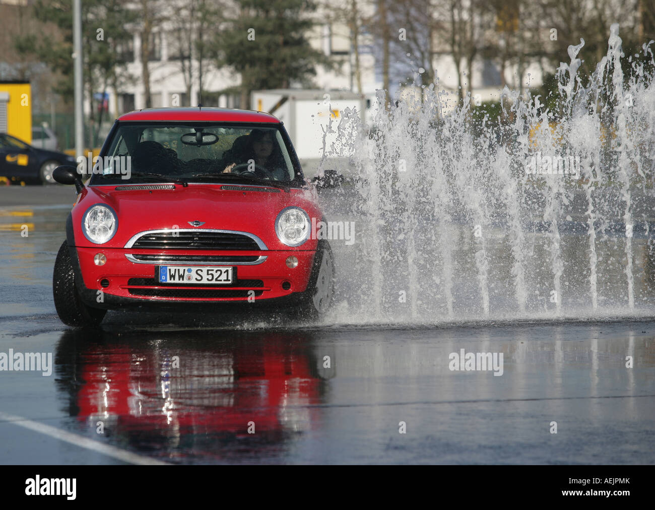 Change manoeuvre at the test course of the german automobileclub ADAC in Koblenz, Rhineland-Palatinate Germany Europe - Stock Image