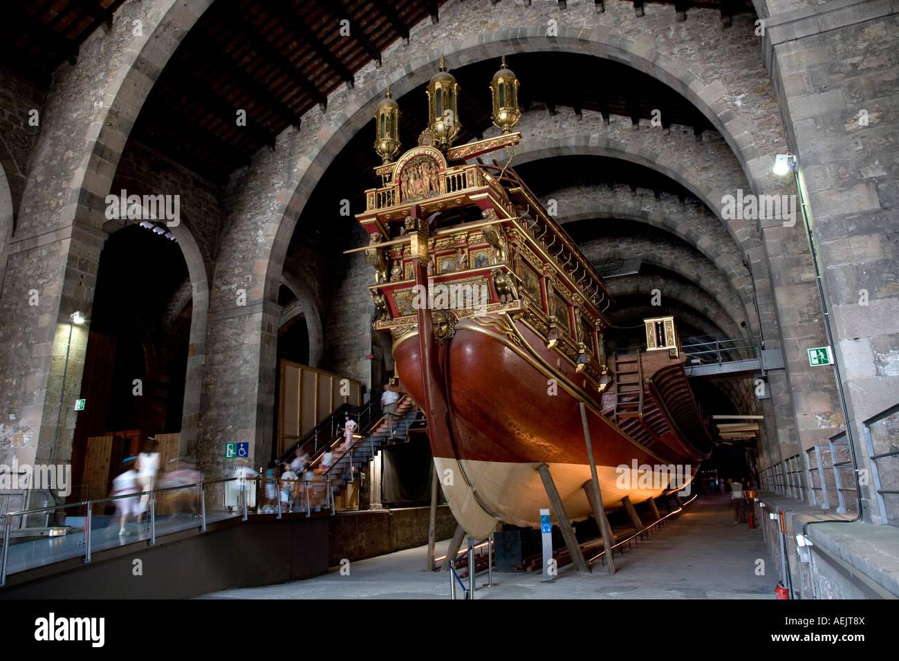 Galley, Relais Drassanes, Museu Maritim, Barcelona, Catalonia, Spain Stock Photo