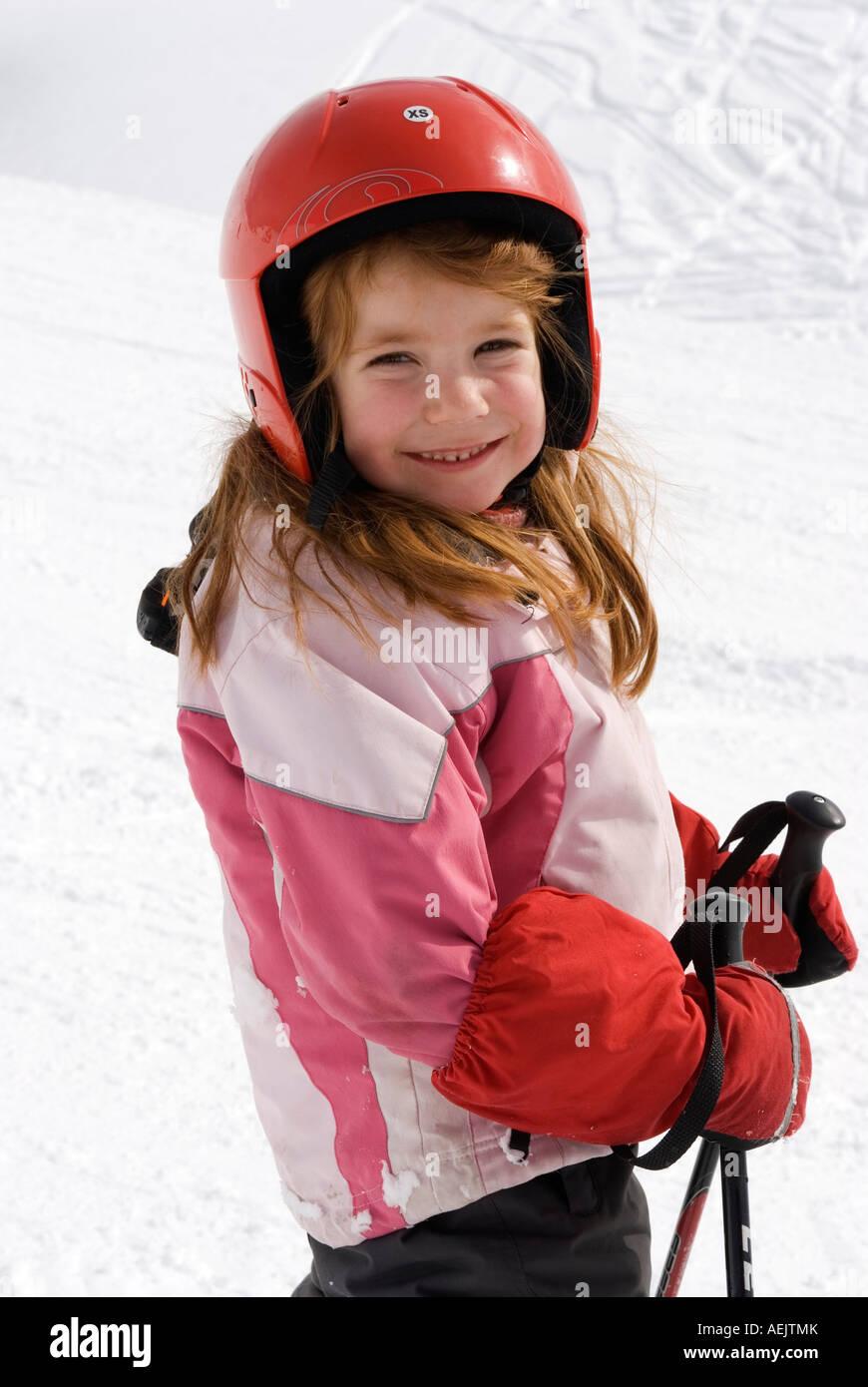 Girl is skiing - Stock Image