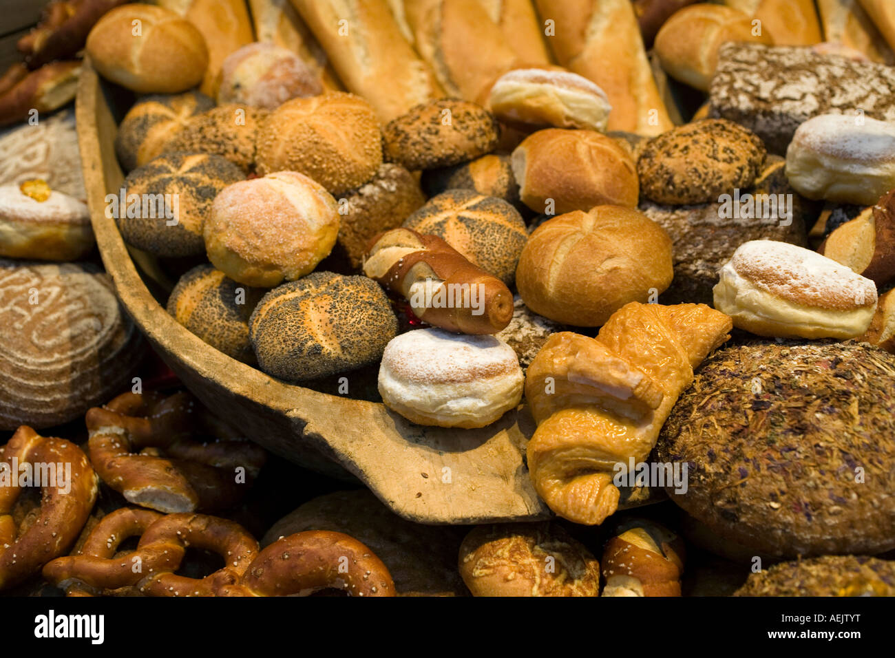 Display of different bread products - Stock Image
