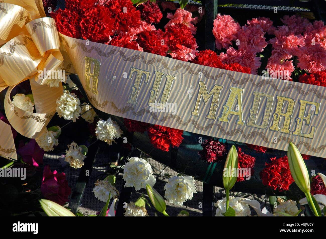 """Mourning wreath, """"your mother"""", cemetary, Altea, Costa Blanca, Spain Stock Photo"""