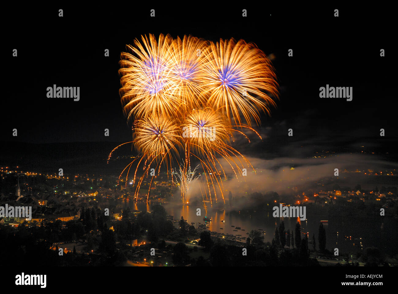Stein am Rhein - Fireworks over the rhineriver on the occasion of Swiss national holiday. Switzerland, Europe. Stock Photo