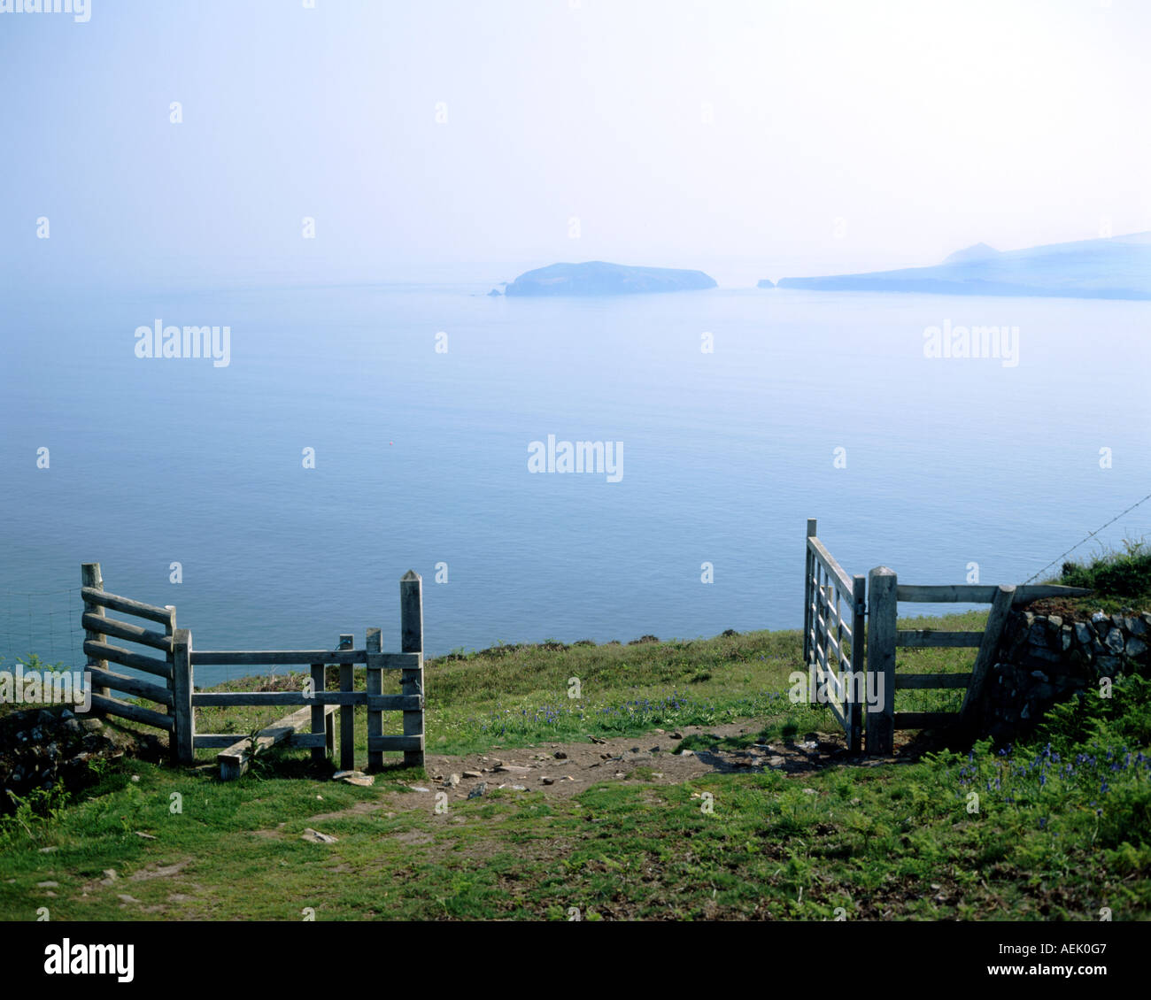 cardigan island from cemaes head pembrokeshire west wales - Stock Image