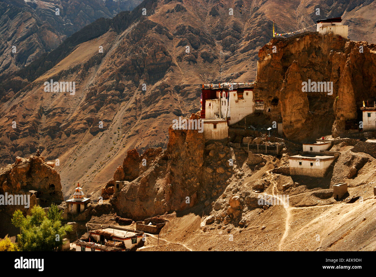 View of Dhankar Castle and gompa situated on the edge of hill in Spiti Valley, Himachal Pradesh India - Stock Image