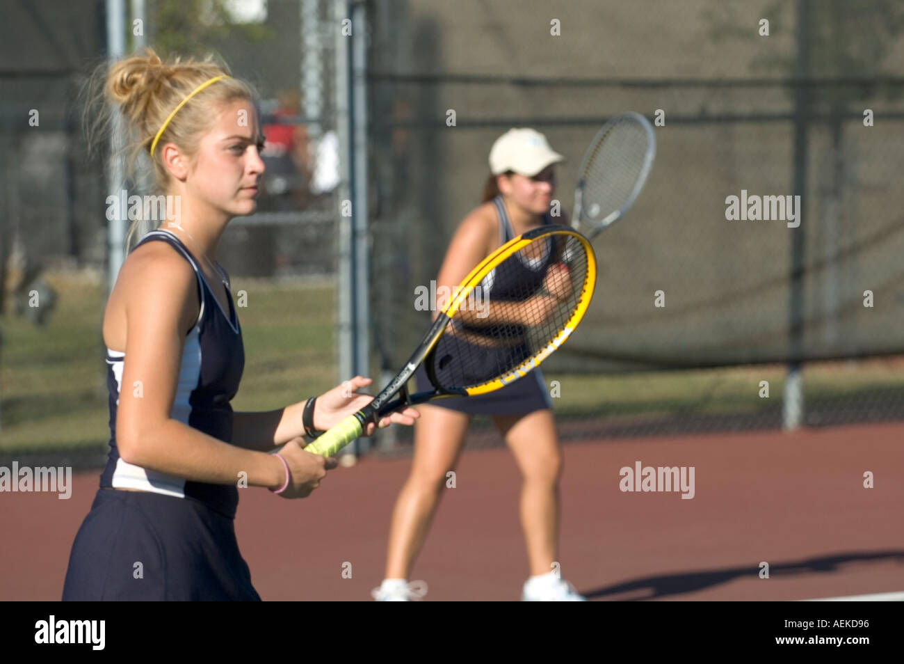 High School Tennis Match Stock Photo Alamy