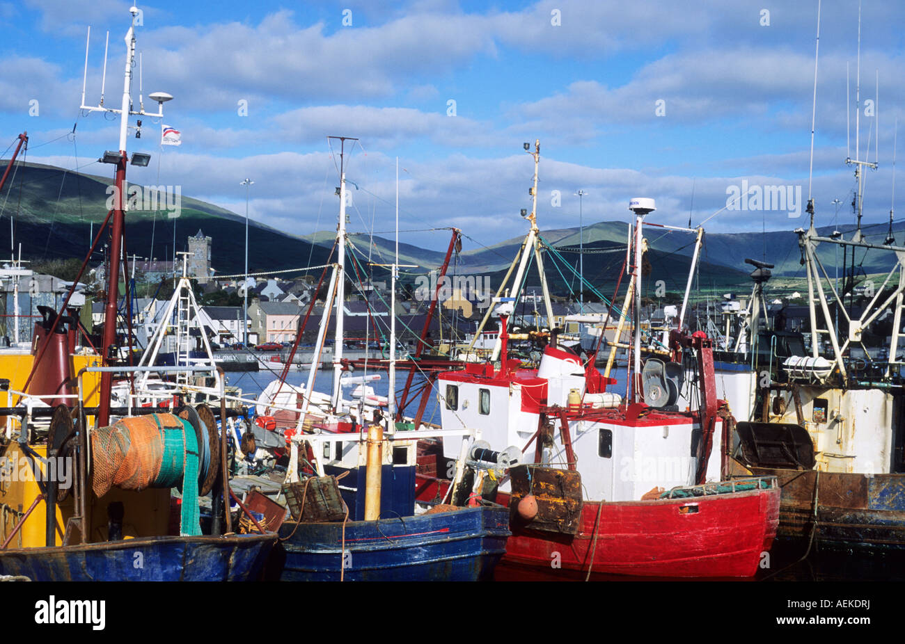 Dingle Harbour Fishing Vessels Boats County Kerry Eire Ireland - Stock Image