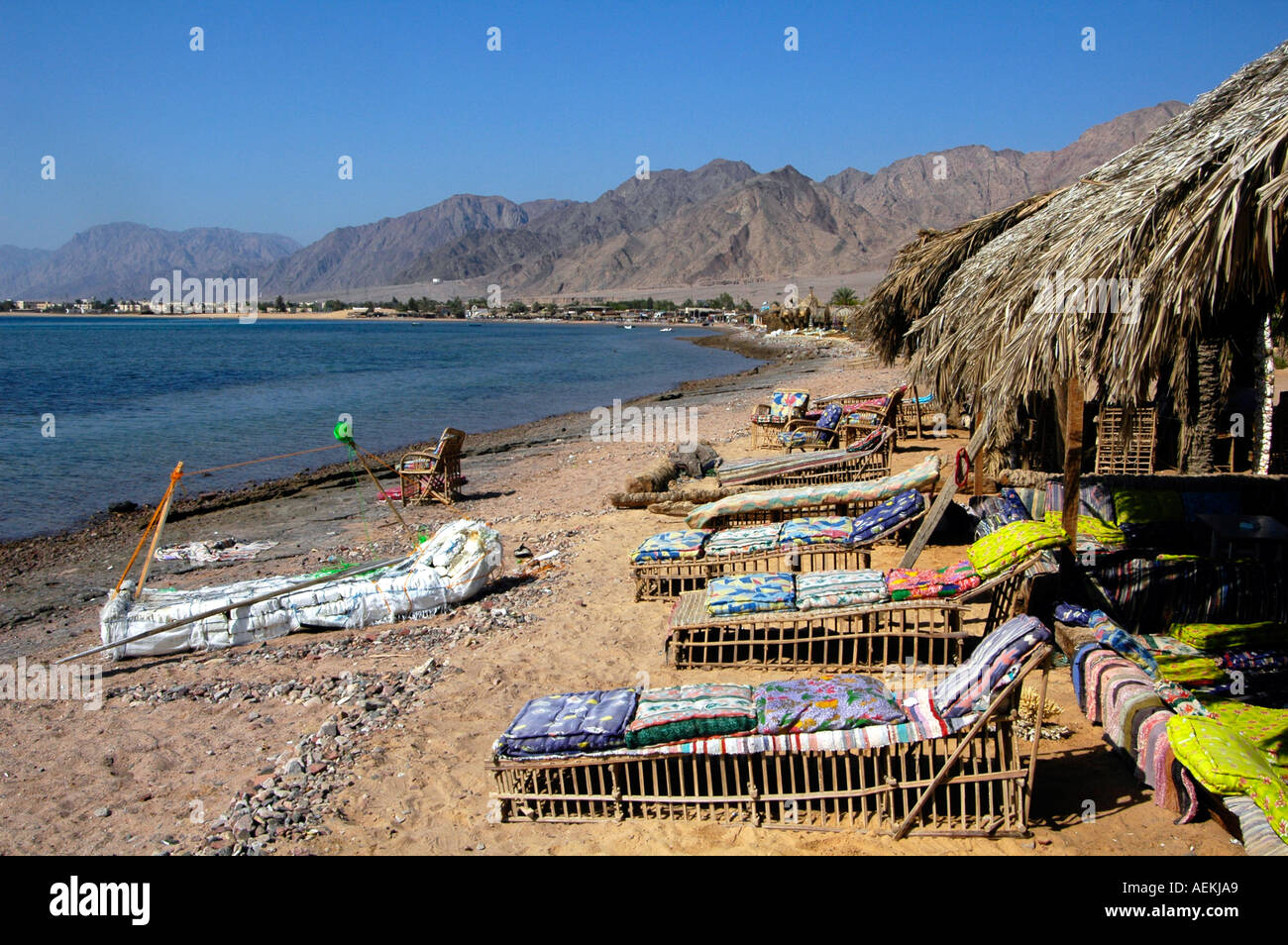 View of Nuweiba Tarabin beach in Nuweiba also spelled: Nueiba a coastal town in the eastern part of Sinai Peninsula, Egypt - Stock Image