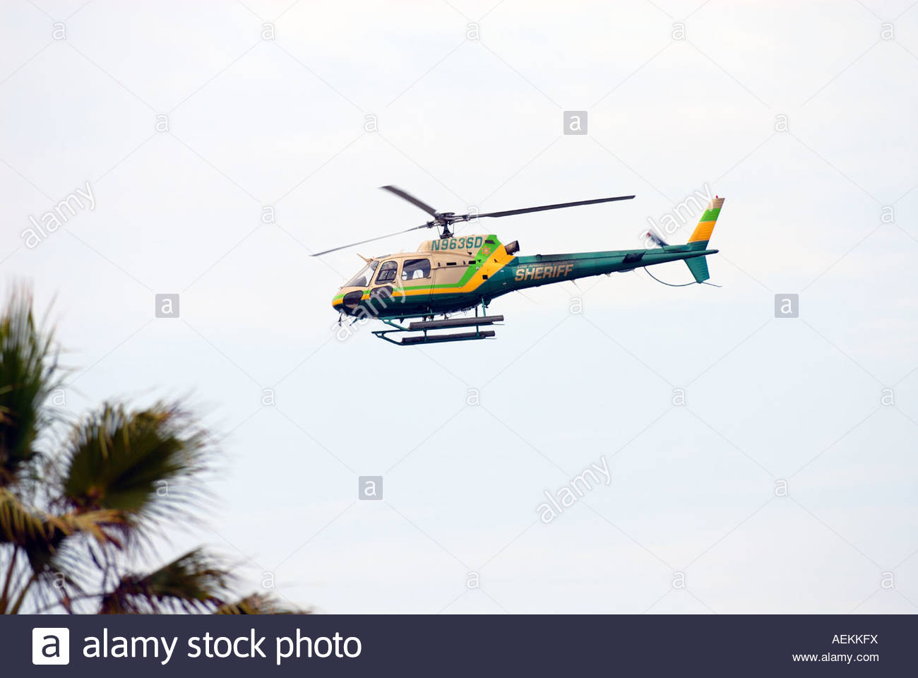 Los Angeles sheriff helicopter patrolling beach area Stock Photo