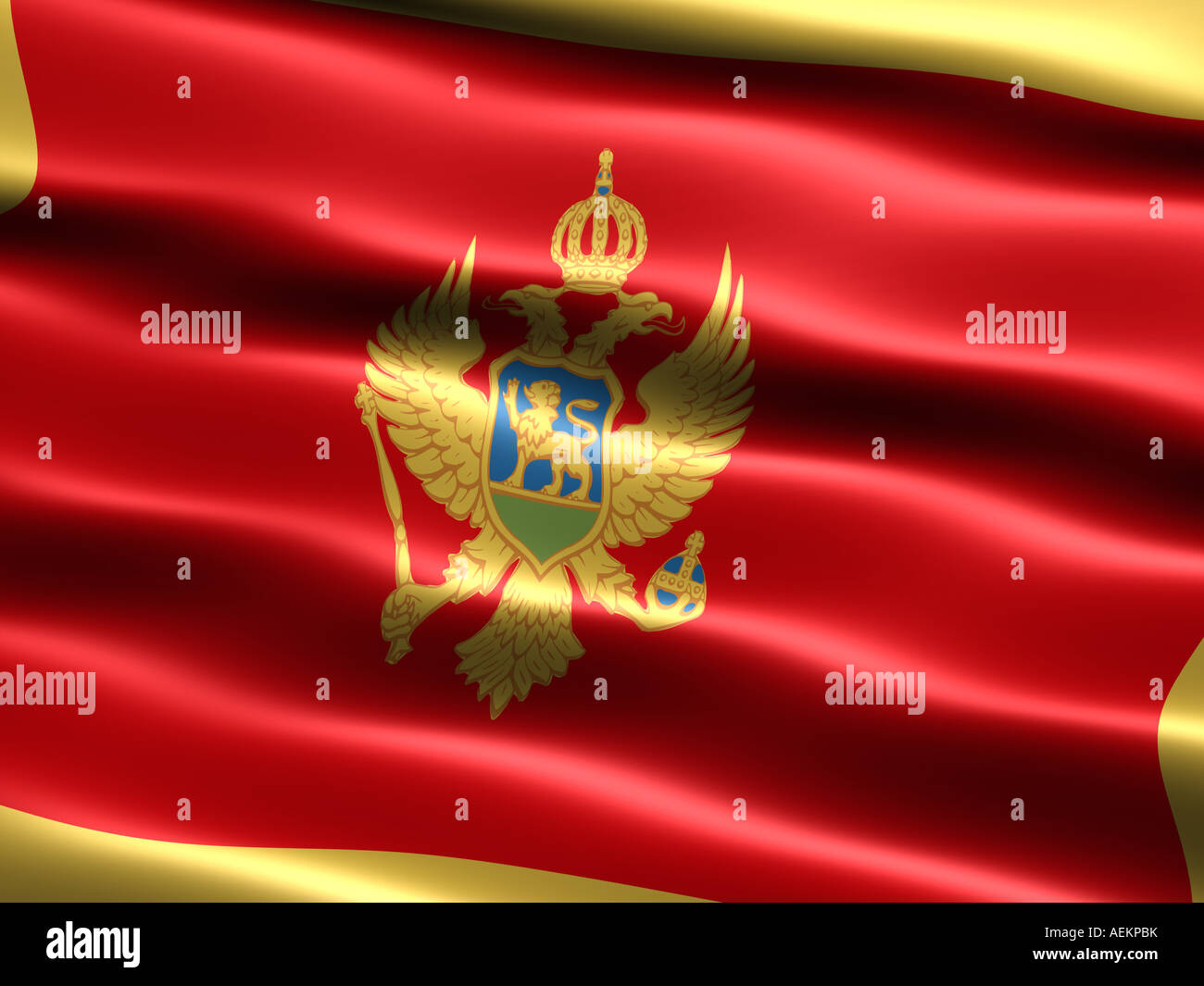 Computer generated illustration of the flag of Montenegro with silky appearance and waves Stock Photo
