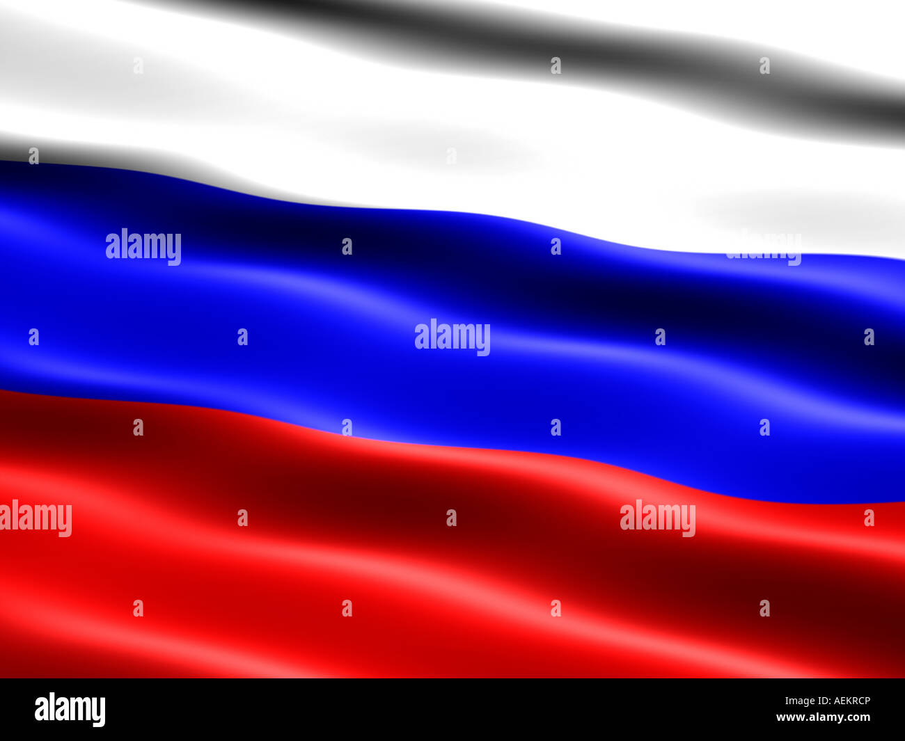 Computer generated illustration of the flag of Russia with silky appearance and waves - Stock Image