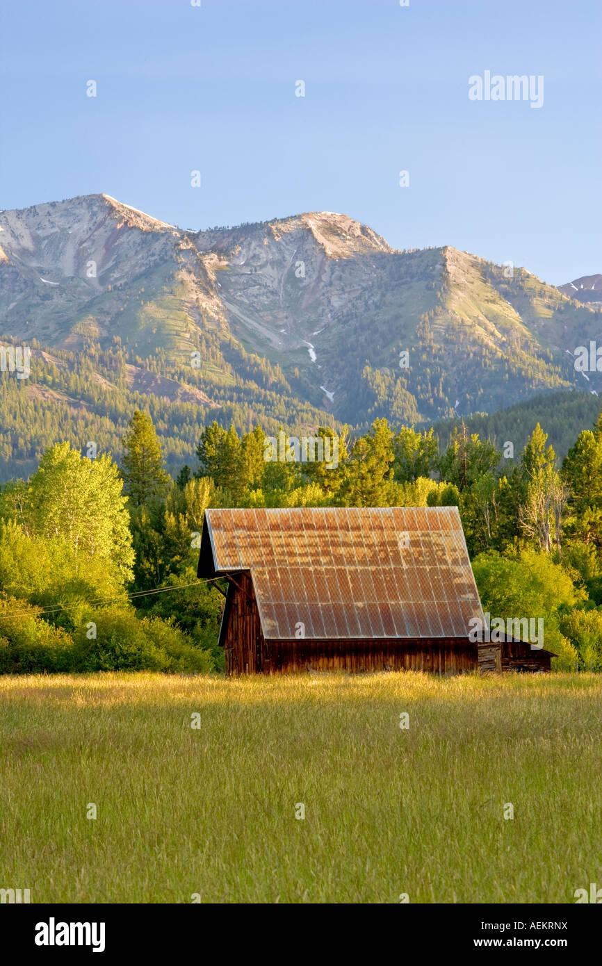 Barn on farm with wallow mountains Near Halfway Oregon - Stock Image