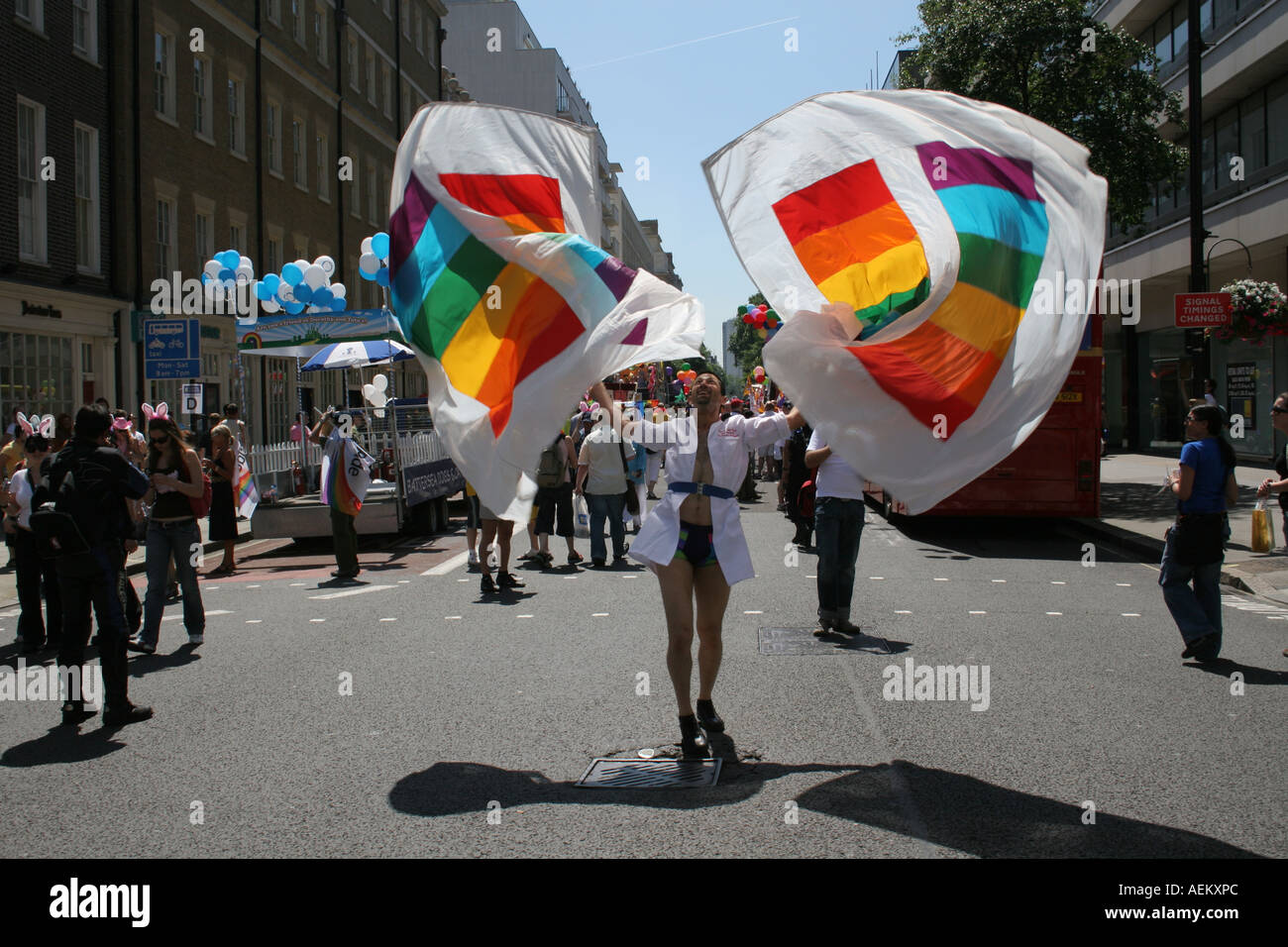 Man Dancing With Flags At Euro Pride London