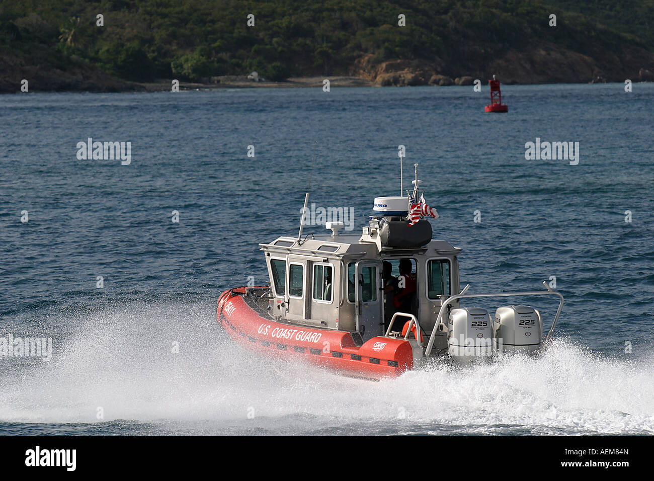 A 25 Coast Guard SAFE Boat patrols the waters of the US Virgin Islands in this picture taken near St Thomas US Virgin - Stock Image