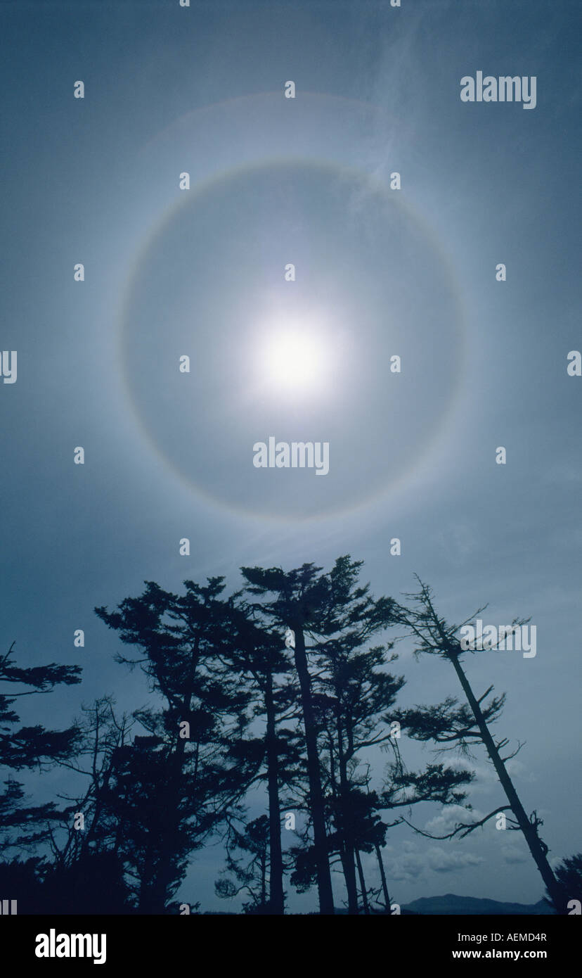 Sun with Halo, 22-degree arc, caused by light refraction in high altitude ice crystals - Stock Image