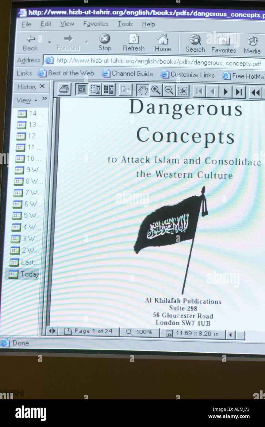 the web site of the extremist Islamic organisation Hizb ut Tahrir - Stock Image