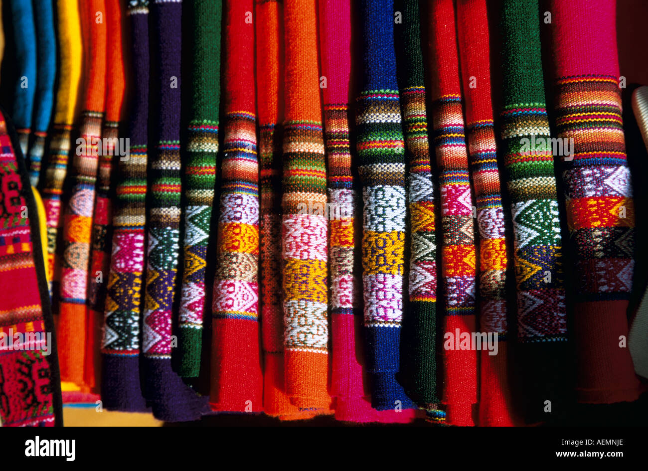 Traditional Colourful Tablecloths For Sale, Indian Market, Lima, Peru