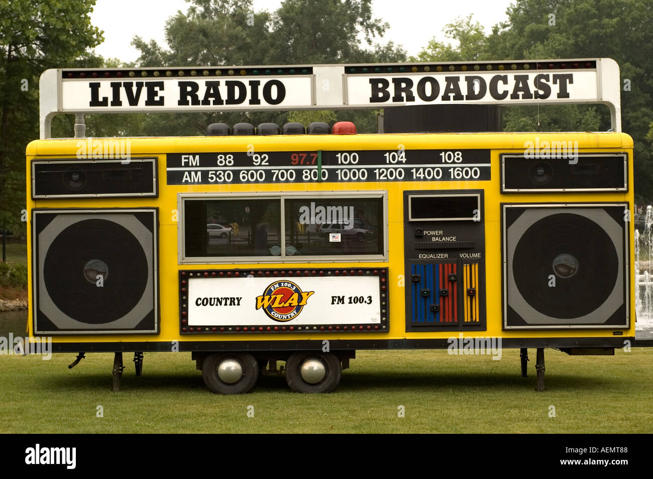 Country WLAY Radio Live Broadcast Trailer at the Helen Keller Festival Spring Park Tuscumbia Alabama Stock Photo