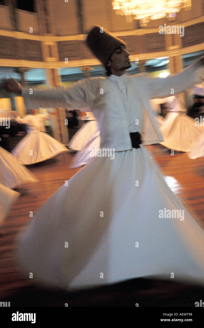 The Whirling Dervishes Perform Sema Galata Mevlevihanesi Istanbul - Stock Image