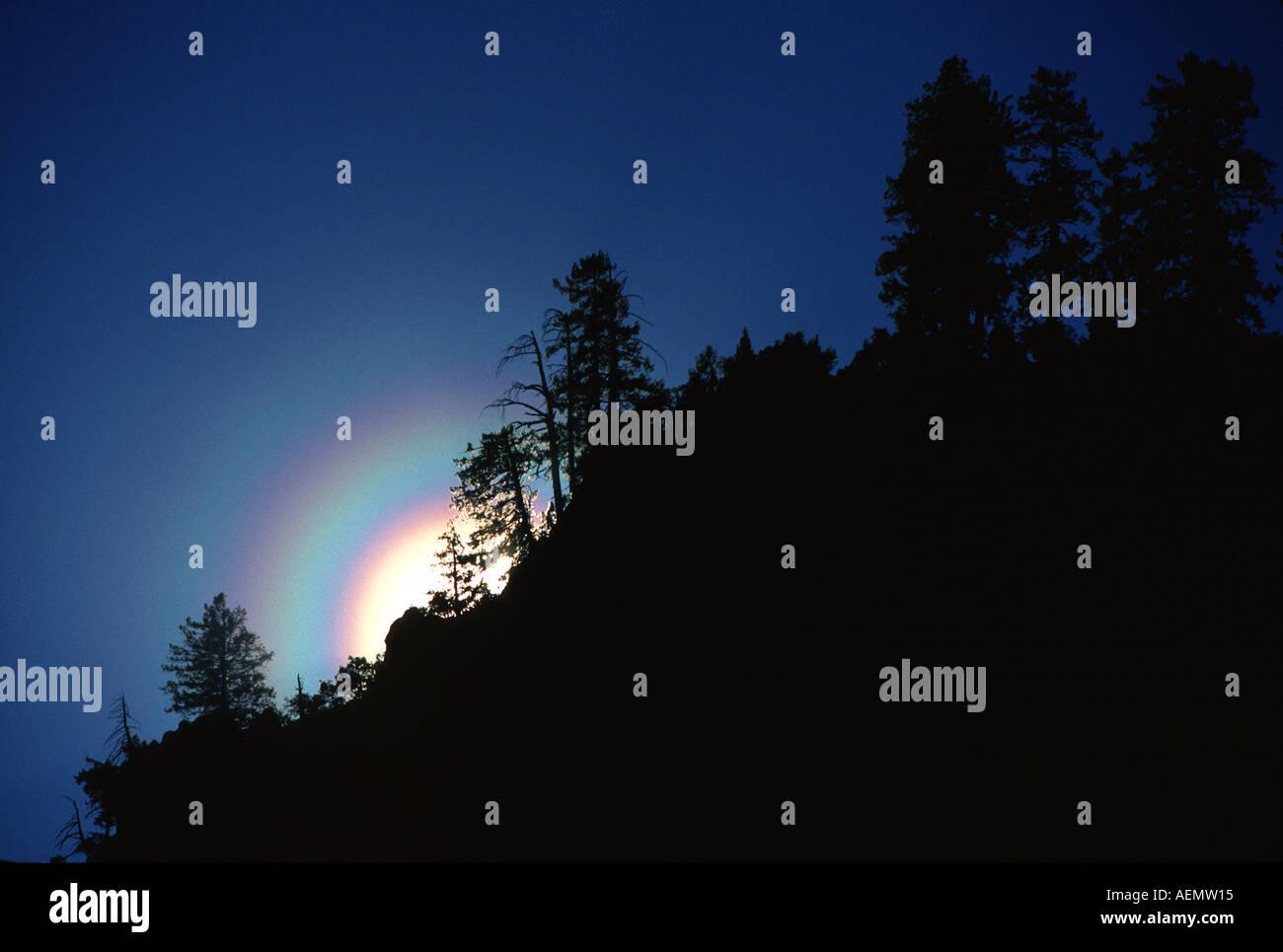 sunbow yosemite national park california - Stock Image
