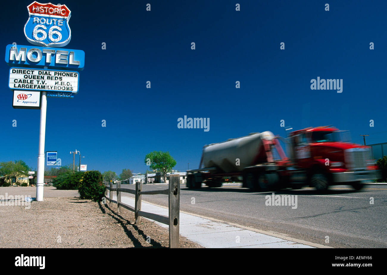 81a891679c53f truck driving with speed on the highway route 66 seligman arizona usa -  Stock Image