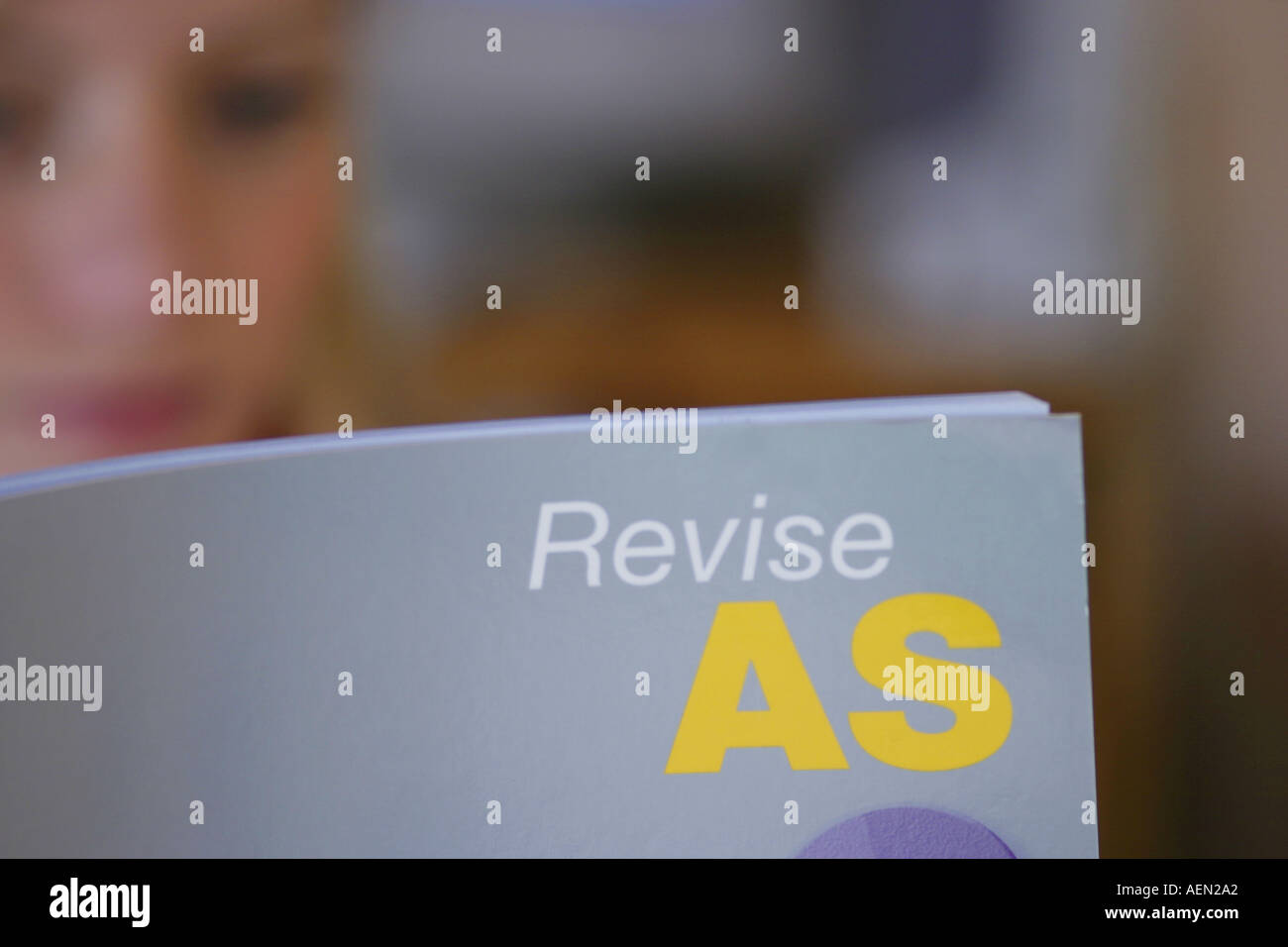 Student AS Level A Level studying revising for examination - Stock Image
