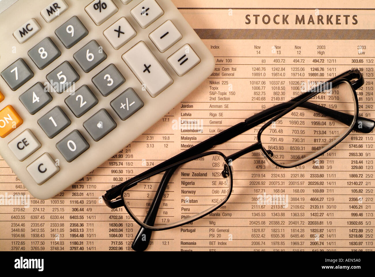 Finance and Investment Concept with Spectacles on an Financial Paper - Stock Image