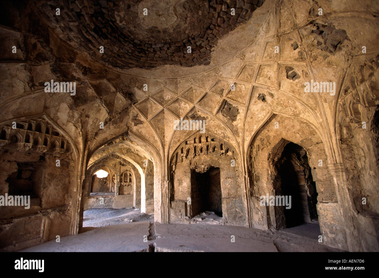 India Andhra Pradesh Hyderabad Golconda Fort vaulted ceiling - Stock Image