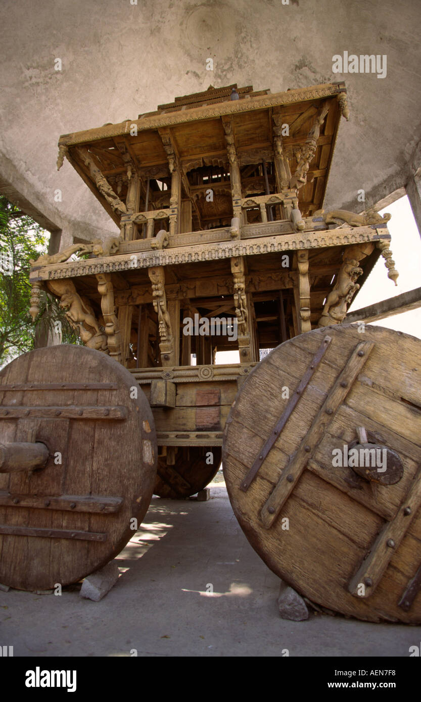 India Andhra Pradesh Hyderabad State Museum C18th Temple Chariot - Stock Image