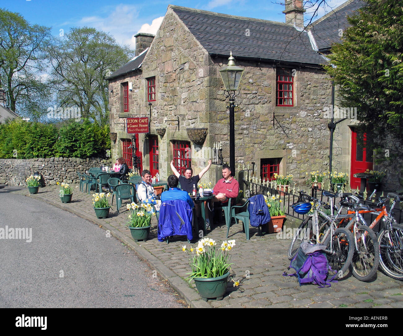 Tea break during bike riding the High Peak Trail Peak District Derbyshire Great Britain Stock Photo