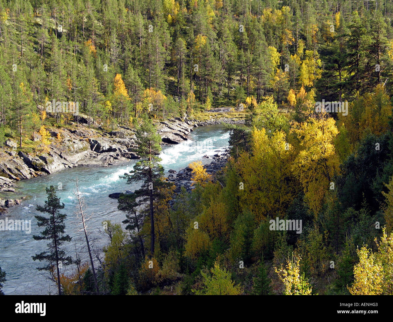 The turning of the seasons Indian summer, Jotunheimen, Norway - Stock Image