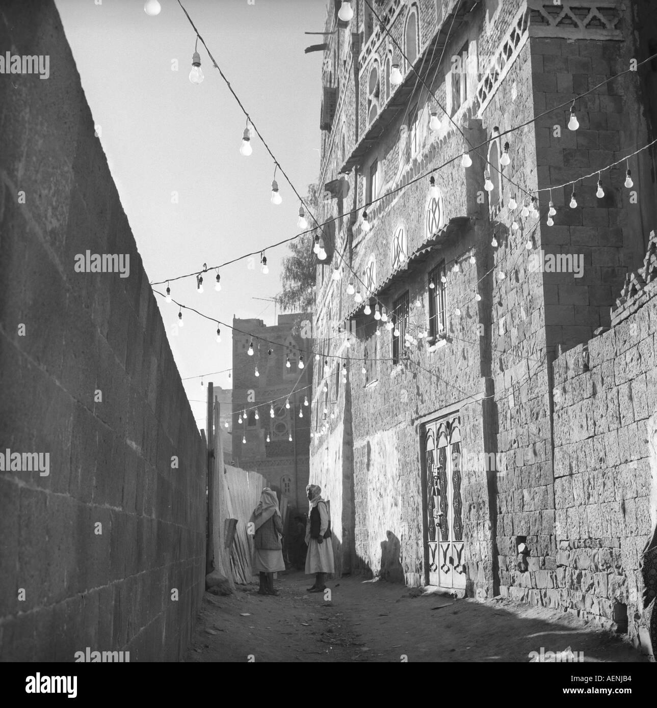 Early morning street scene Sanaa Yemen Arab Republic - Stock Image