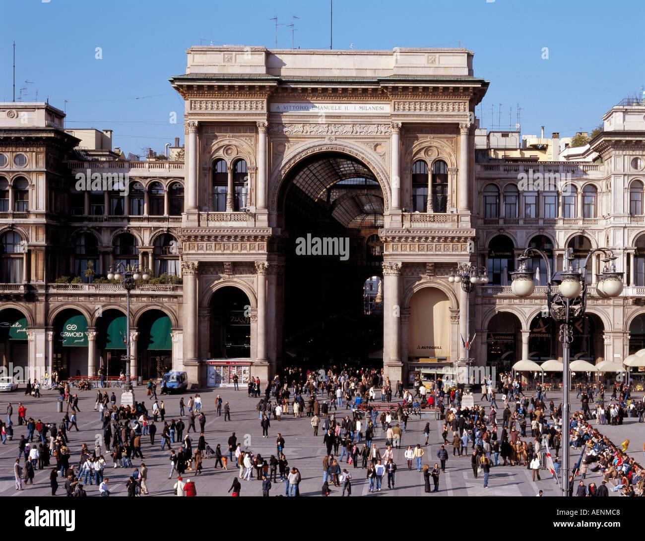 Mailand, Galleria  Vittorio Emanuele II, Außen-Ansicht - Stock Image