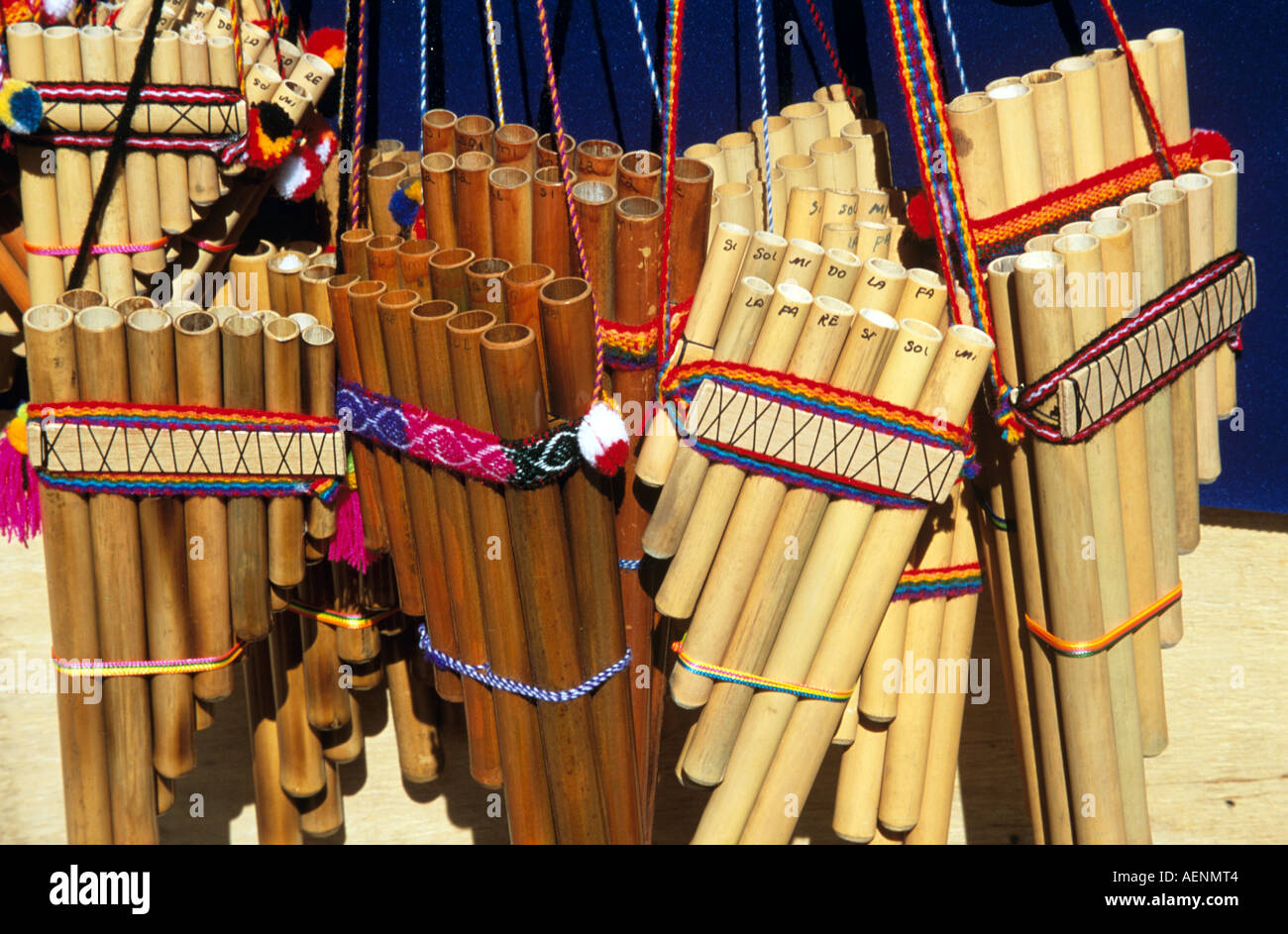 Display of panpipes on stall in market, Aguas Calientes, near Machu Picchu, Peru - Stock Image