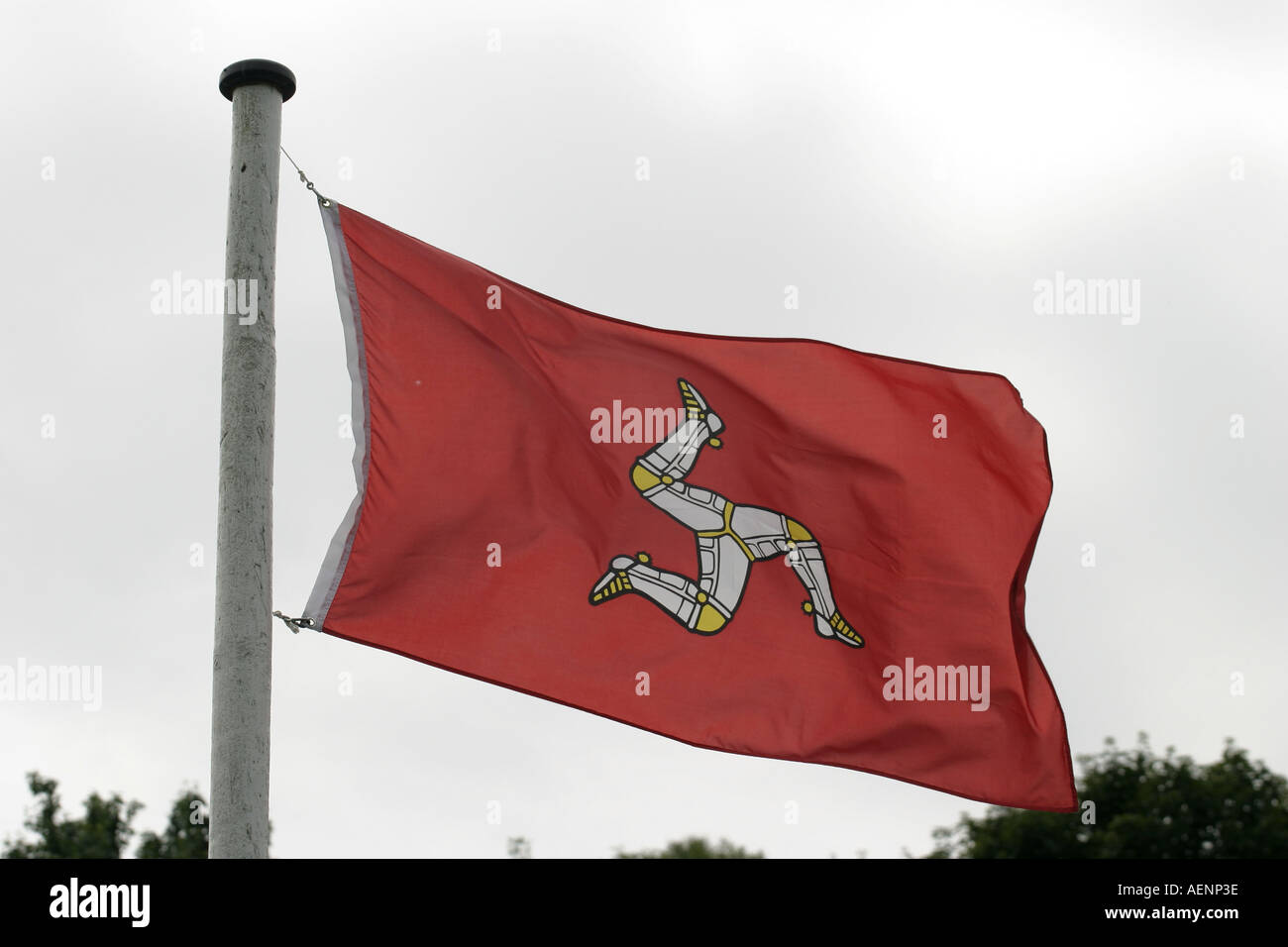 Red manx flag flying in the wind from flagpole Isle of Man - Stock Image