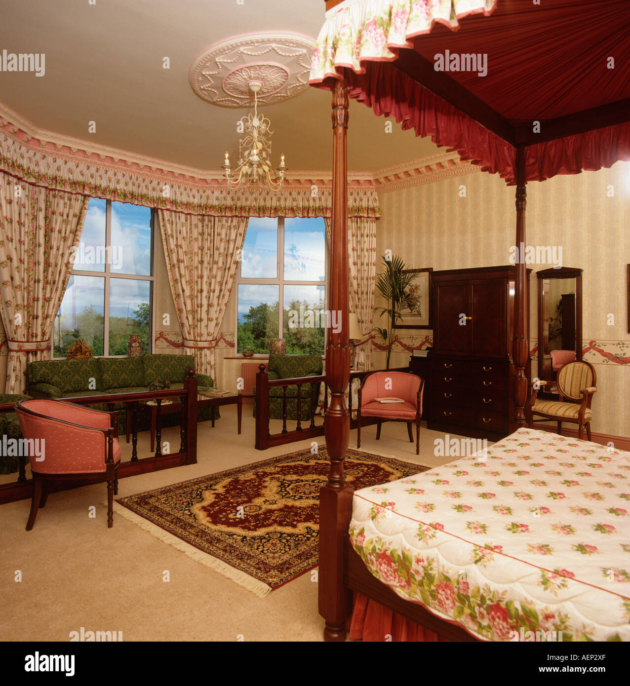 Accommodation luxurious country house hotel bedroom - Stock Image