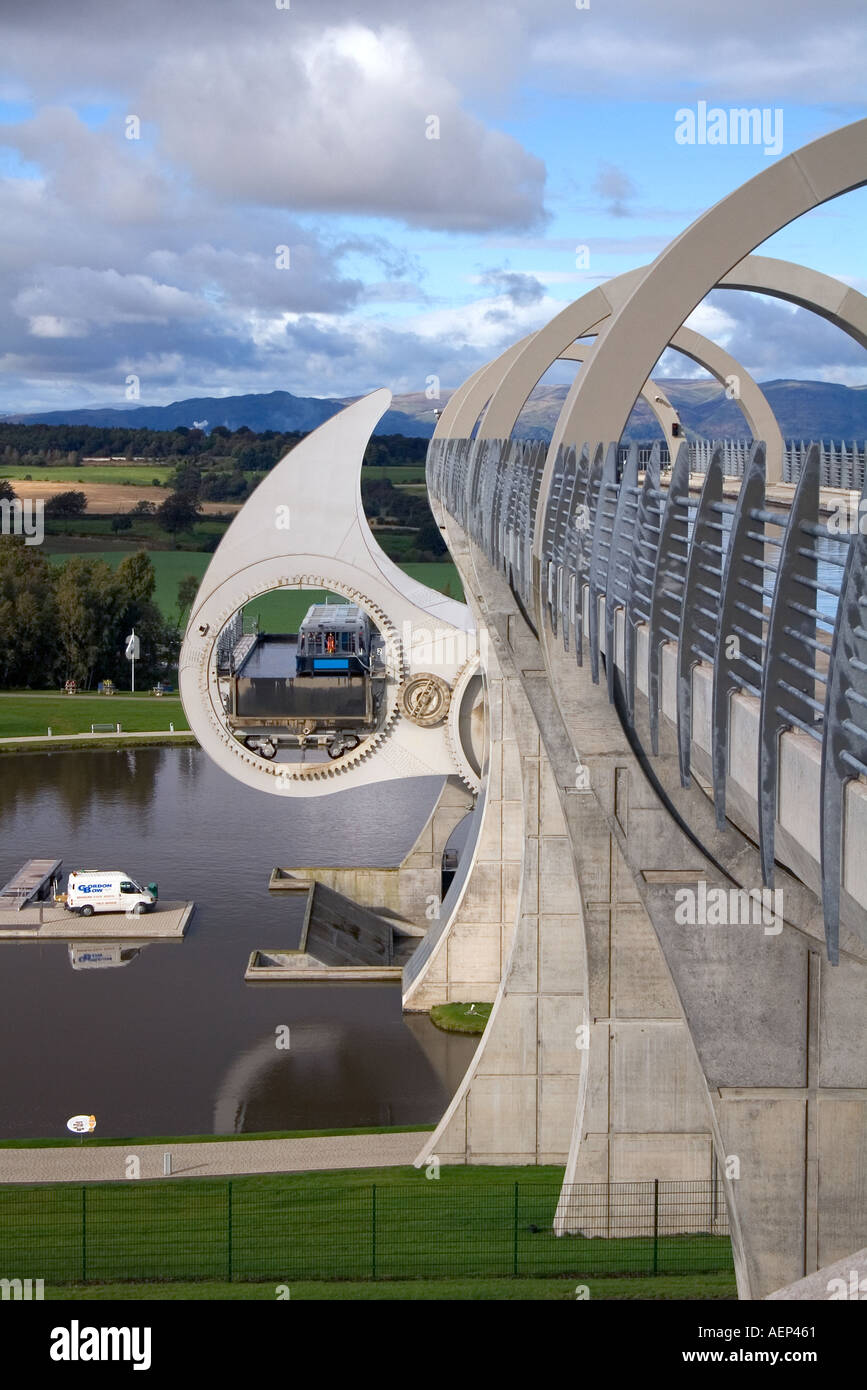 dh Falkirk Wheel locks CAMELON STIRLINGSHIRE Scotland Canal revolving boat lift boating basin Forth Clyde Union canals uk inland waterways Stock Photo