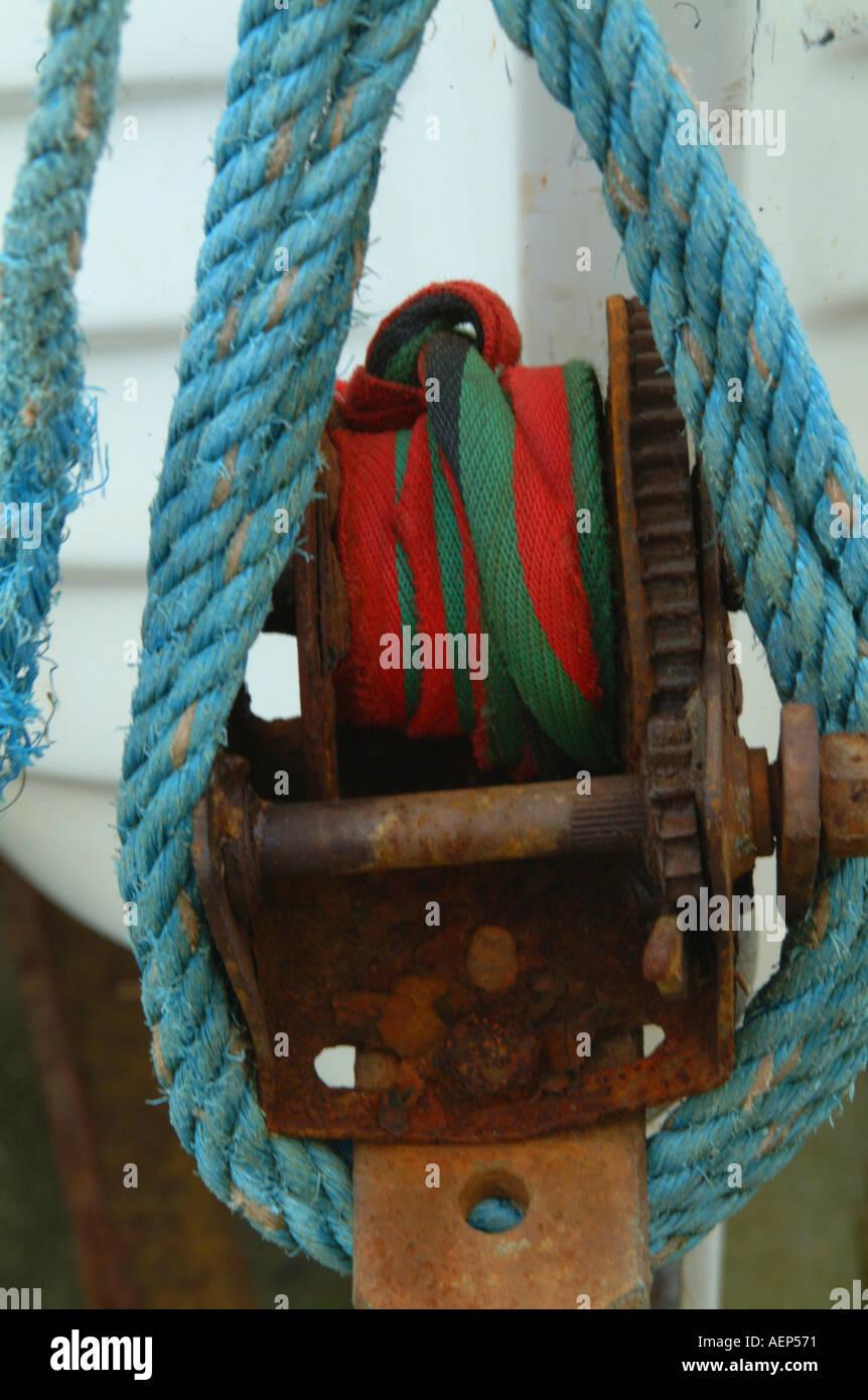 Sailing boat trailer winch - Stock Image
