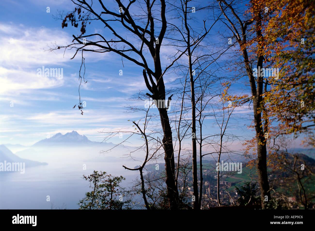 village of weggis and mount pilatus lake lucerne swiss alpes canton of lucerne switzerland - Stock Image