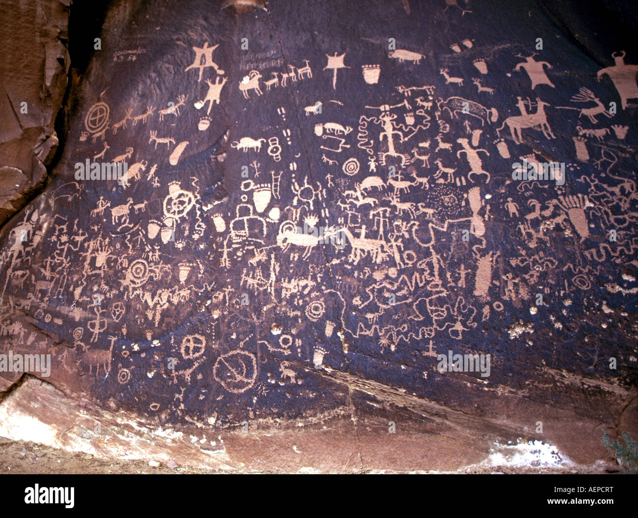 Prehistoric petroglyphs or Anasazi Indian rock carvings carved into sandstone boulders at Newspaper Rock, southern - Stock Image