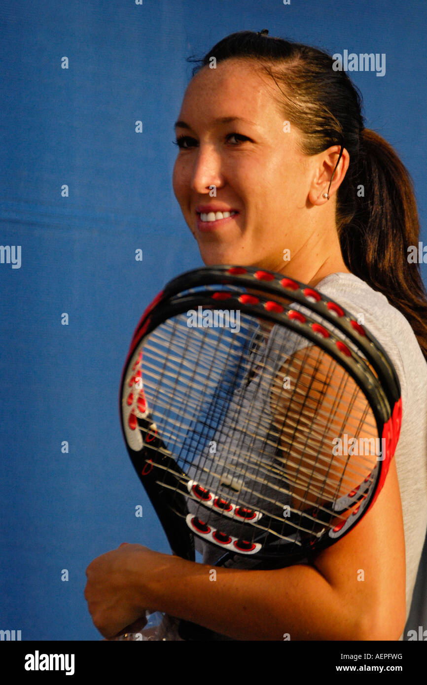 Serbian WTA tennis star Jelena Jankovic smiles after a practice session at the 2007 Acura Classic tennis tournament, - Stock Image