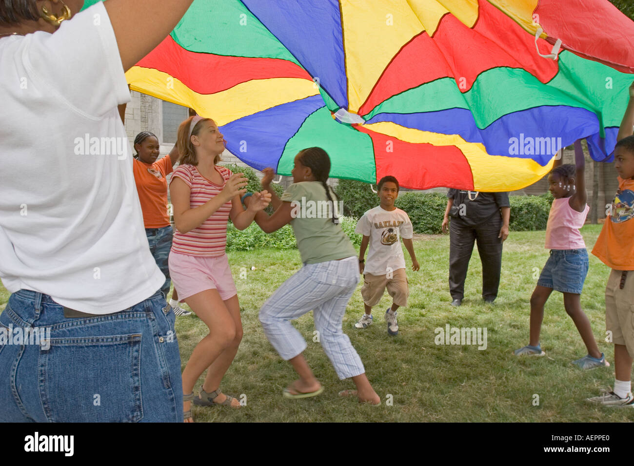 Children Play at Peace Camp - Stock Image