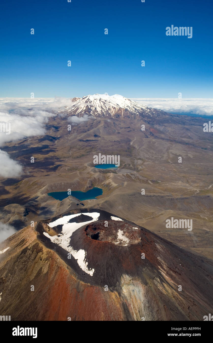 Crater and secondary cone of Mount Ngauruhoe and Mount Ruapehu from the air, Tongariro National Park, New Zealand Stock Photo