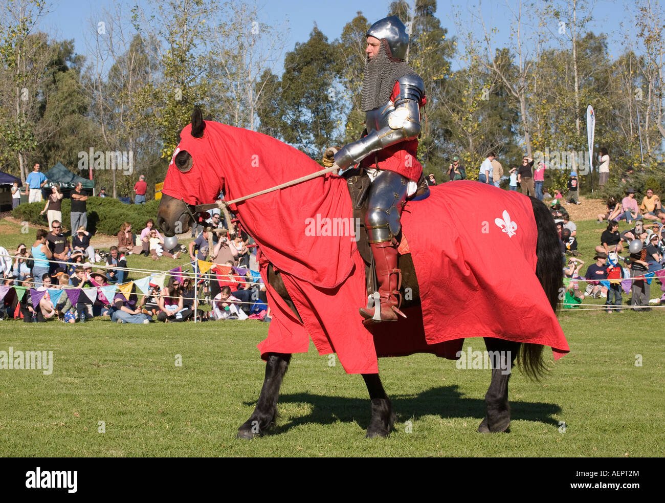 Medieval Jouster In Red Costume Armour And Helmet On Horseback Stock Photo Alamy