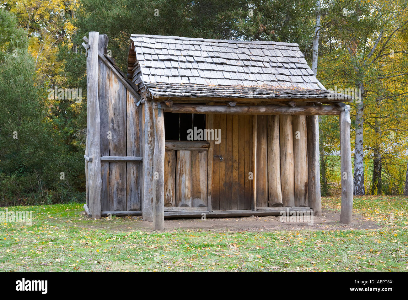 Gold Rush Old Miners Wooden Slab Hut Yackandandah Victoria Stock
