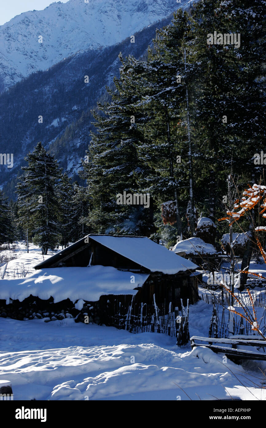 A beautiful landscape of a hut covered under snow during winter season at village Rakcham, Sangla valley Himachal - Stock Image