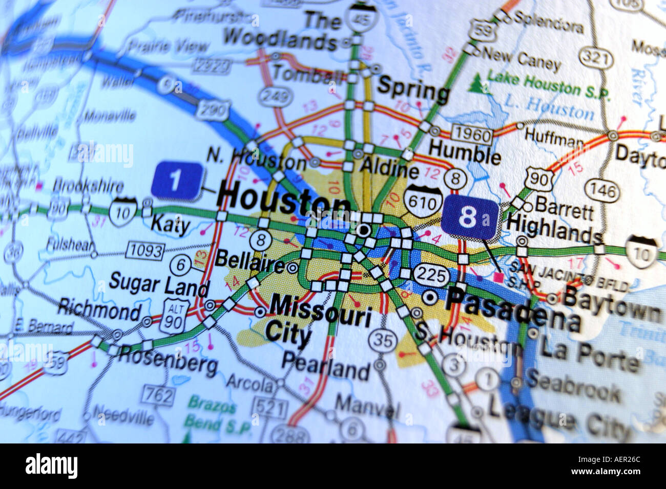 Close Up Map Of Houston Texas Usa Stock Photo 2552427 Alamy