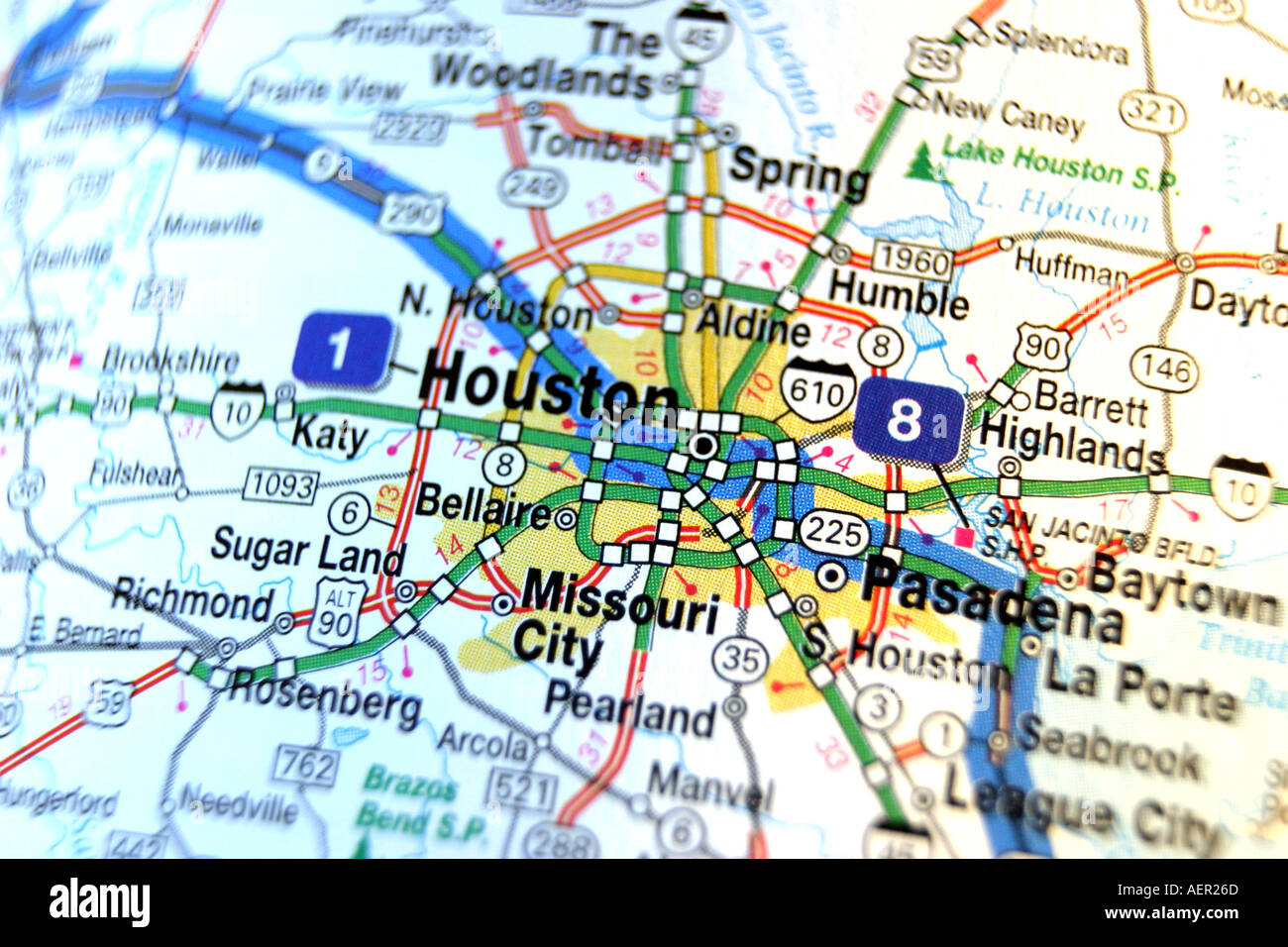 Close Up Map Of Houston Texas Stock Photo 2552428 Alamy