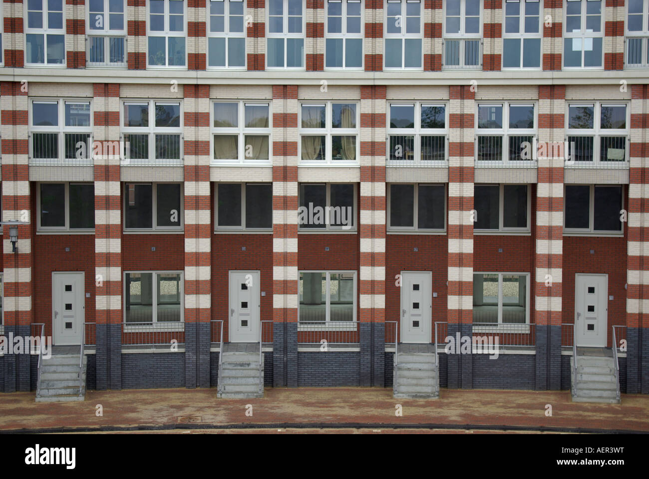 newly built houses with repetitive pattern Helmond Netherlands Stock Photo