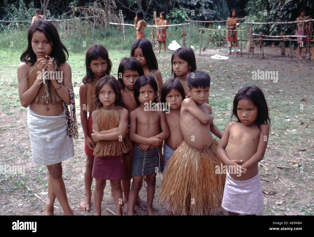 Children From The Yagua Tribe In Amazon Region Of Peru