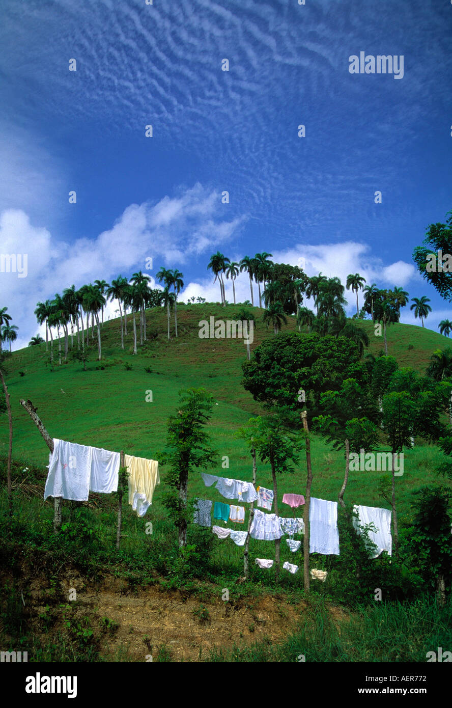 clothes on clothesline dominican republic archipelago of the greater antilles caribbean - Stock Image